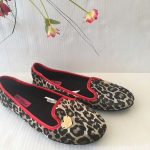 Betsey Johnson leopard print slippers NWOT 7-8